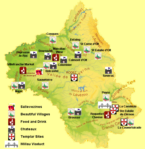 carte des plus beaux villages de l aveyron FR   The Aveyron